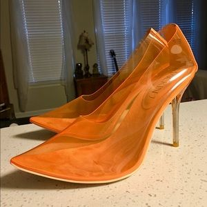 Shoes - Mackin J clear orange stiletto heels